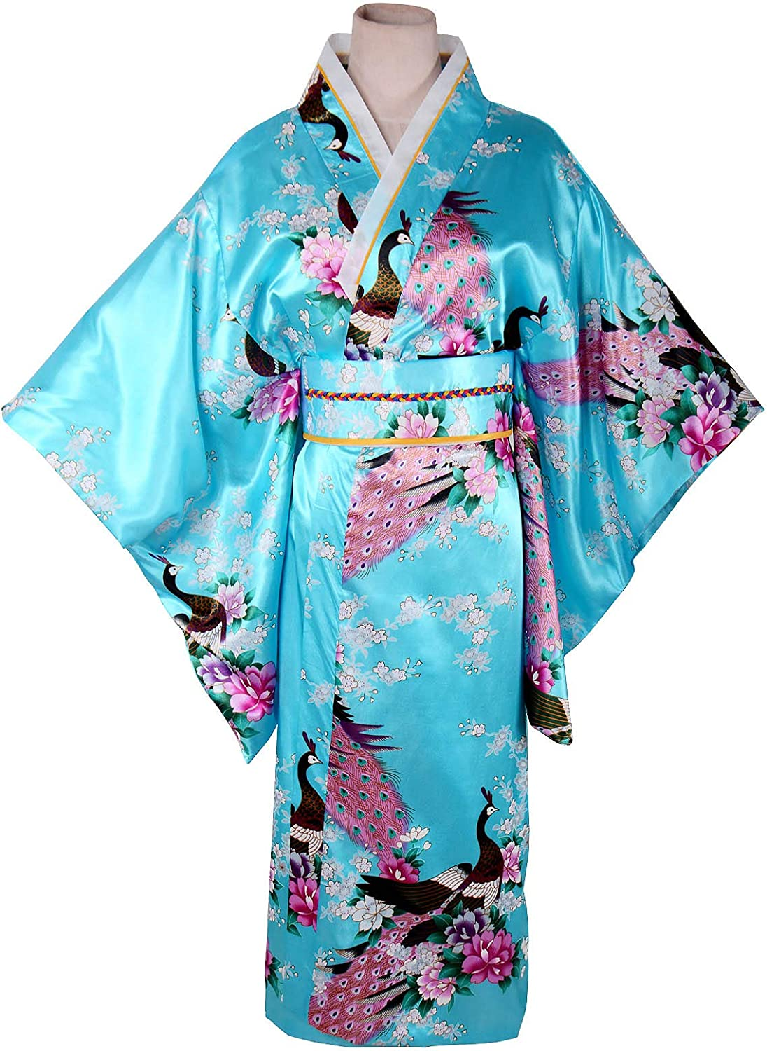 Womens Kimono Costume Adult Japanese Asian Top Dress Robe Sash Belt Fan Set Outfit