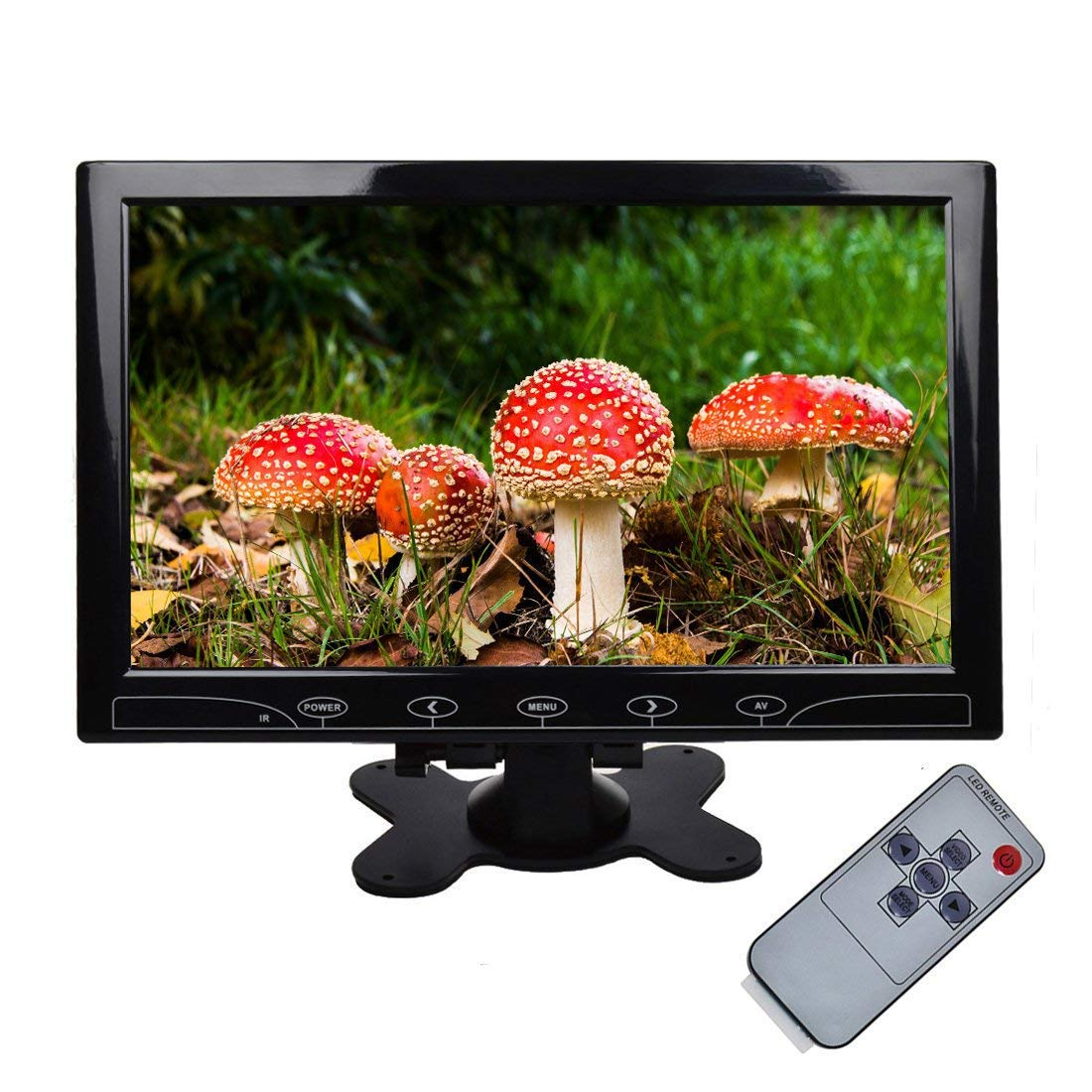 TOGUARD 10.1'' Inch Ultrathin Color Security CCTV Monitor 1024x600 Resolution Touch Buttons Video and Audio LED Display Screen with Remote Control AV/VGA/HDMI Input
