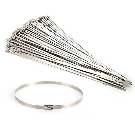 100 uds Bridas para cables Bridas de acero inoxidable Bloqueo Metal Cable Ties (300mm)