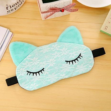 Máscara de microfibra para gato de encaje acolchada para dormir, para viajes, al aire