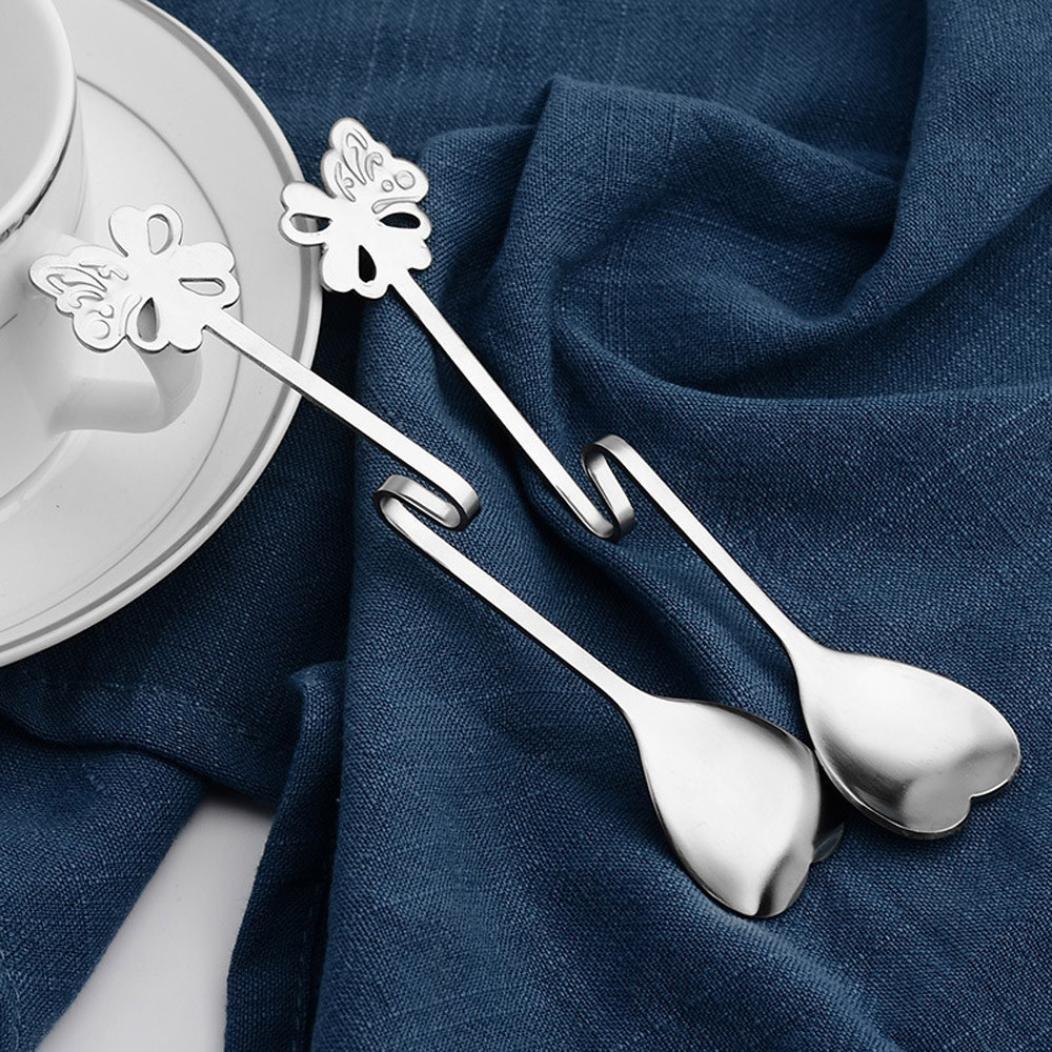 Hunpta 1PCS Metal Tea Coffee Drink Butterfly Heart Shaped Hanging Spoons (Silver) Hunpta@