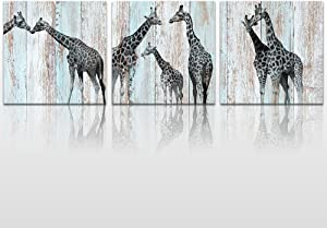 Welmeco Funny Animals Canvas Wall Art Decor Lovely Giraffes Family Painting Prints Wood Background Picture Framed Stretched Wall Decoration Bedroom Kids Room Gift (01 Giraffes)
