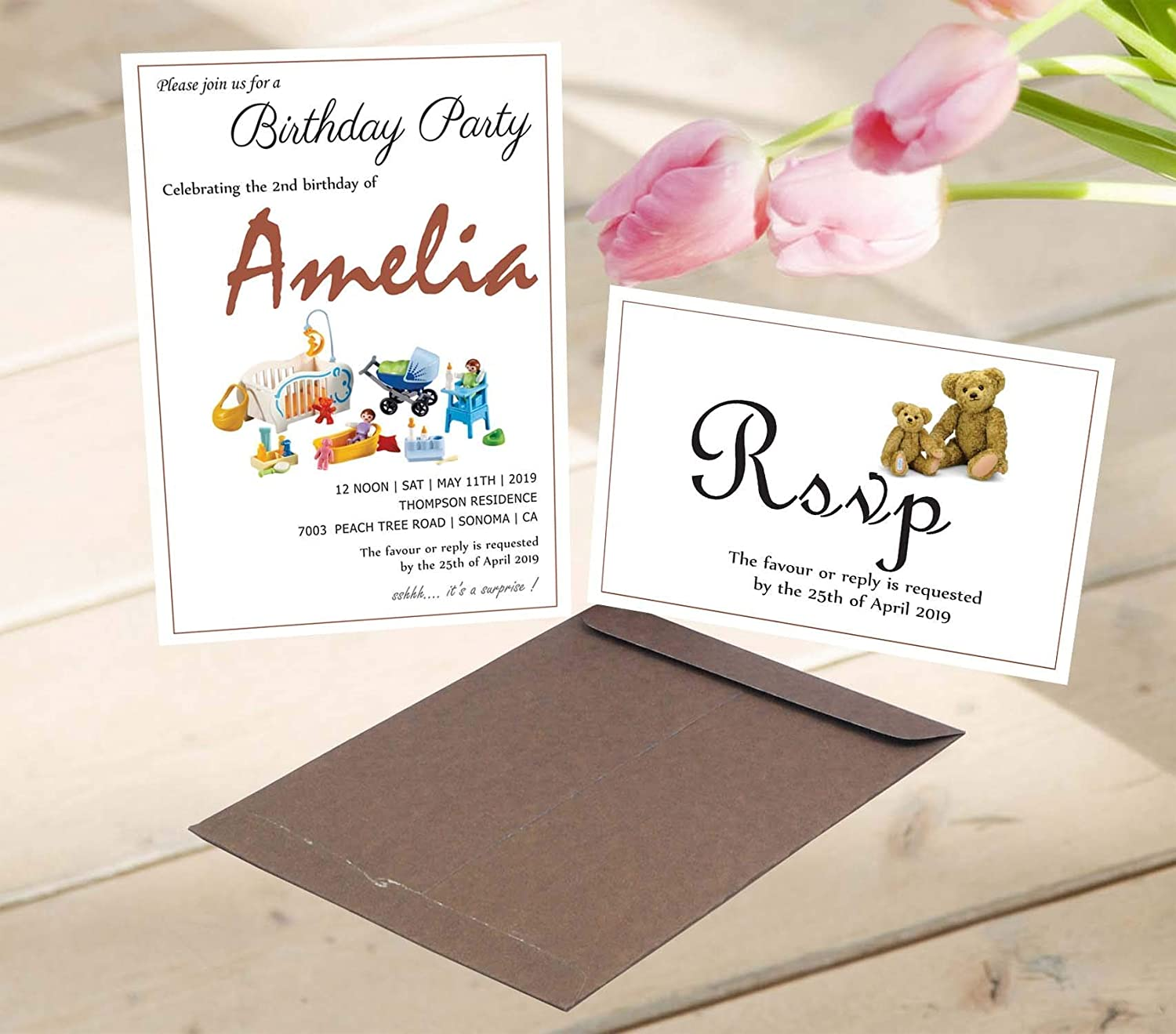Amazon Com Baby Birthday Invitation With Envelopes And Rsvp