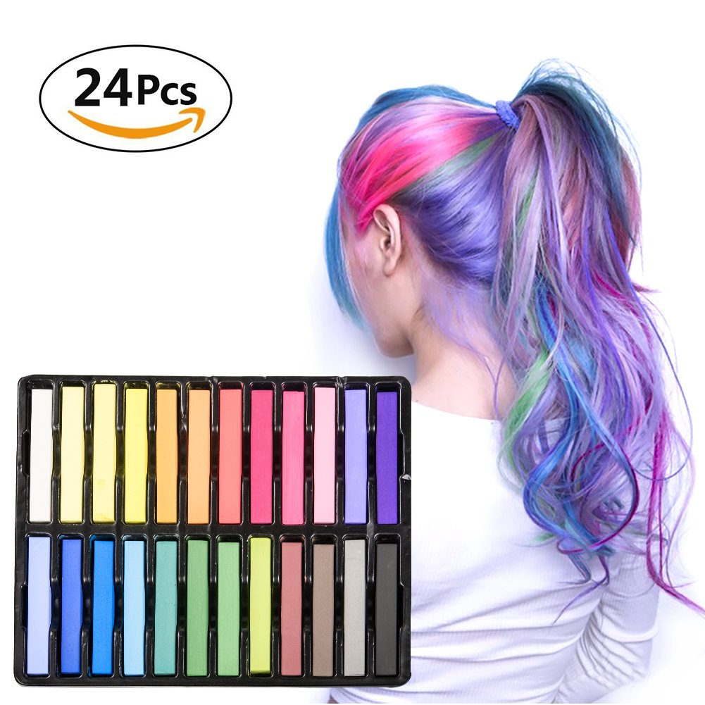 Elover Temporary Hair Chalks set 24 Colors Hair Chalk Wax for Girls Rainbow Colored Hair Chalk by Elover