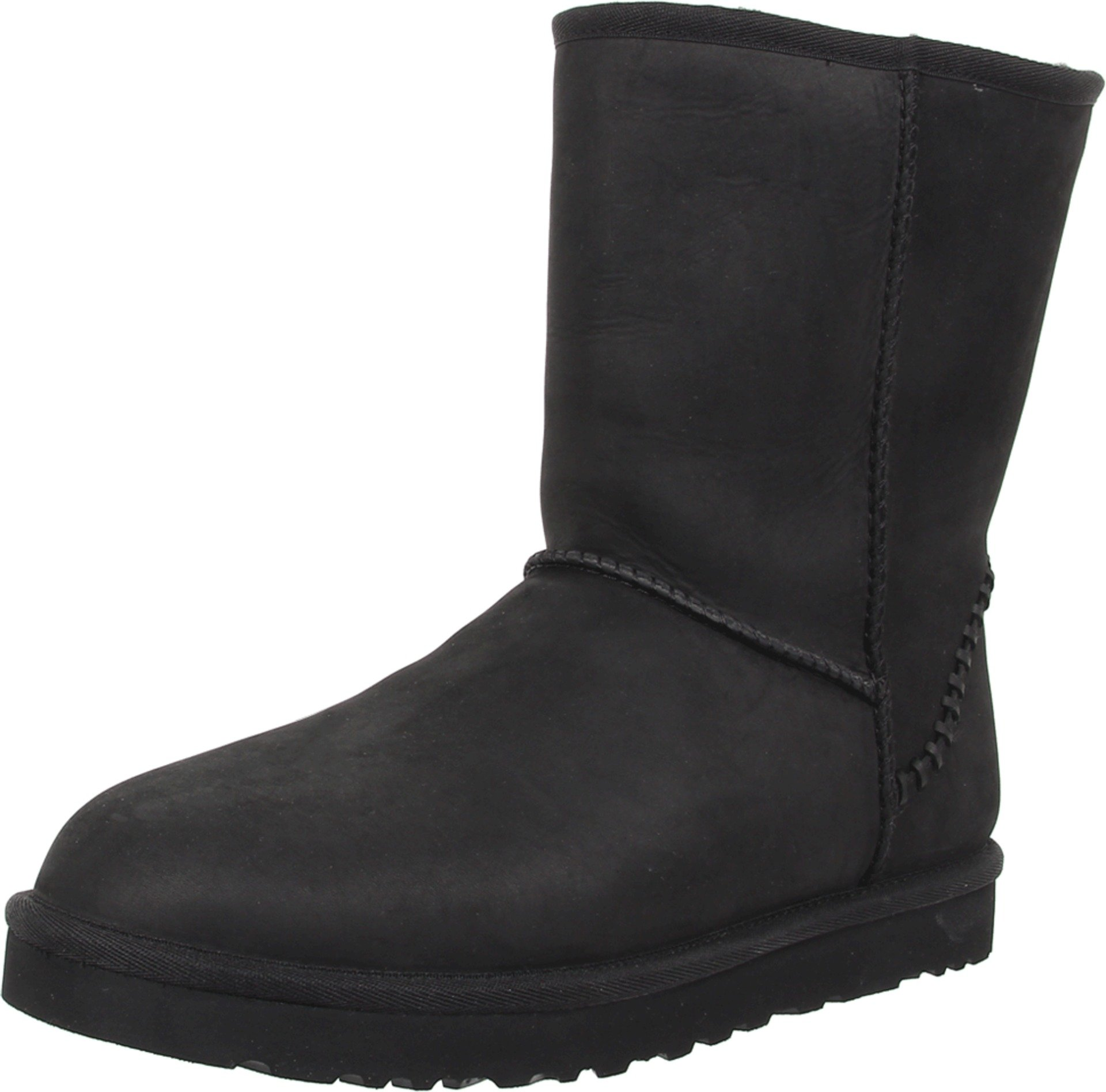 UGG Men's Classic Short Deco Black Leather Boot 18 D (M)