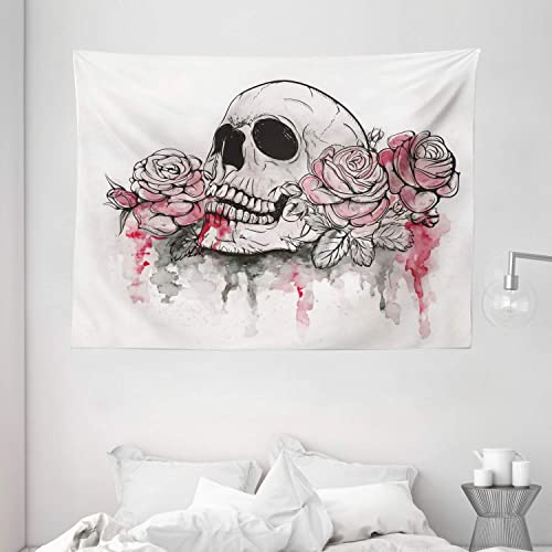 Ambesonne Day of The Dead Tapestry, Print of Skull Dead with Romantic Roses Celebration Day, Wide Wall Hanging for Bedroom Living Room Dorm, 80 X 60 , White Pink