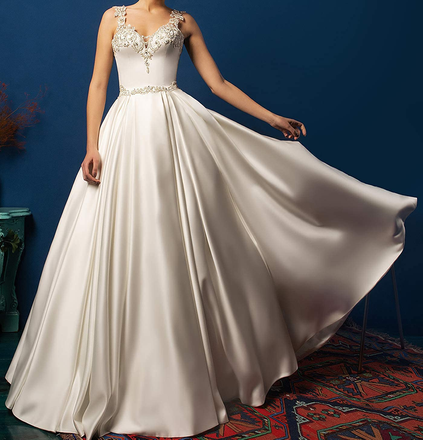 Changjie Women Crystal Bead Pearls Rhinestone Lace Appliques Ball Gown Wedding Dress Satin Bridal Gown