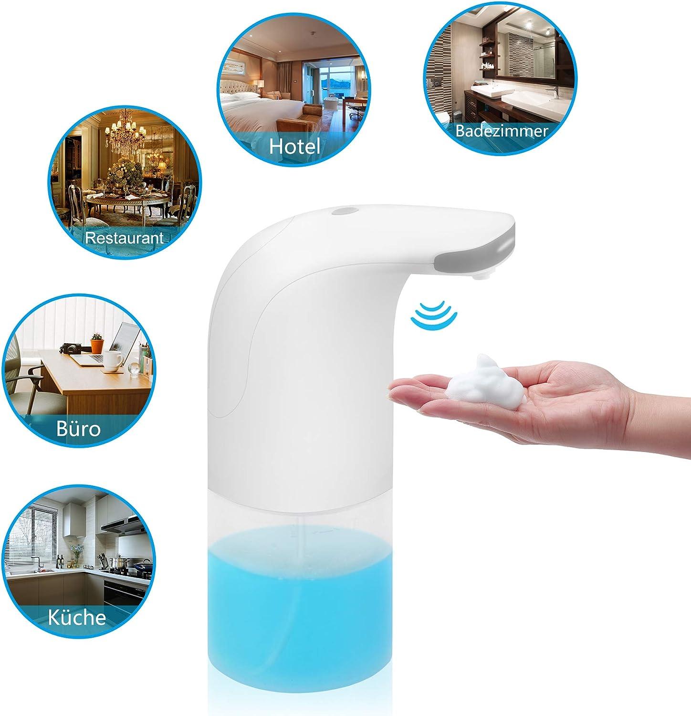 Blite Dispenser di Sapone Automatico Bianco 350 ml Silenzioso No Touch Dispenser Elettrico di Sapone in Schiuma con Asciugamano Bonus per Cucina e Bagno