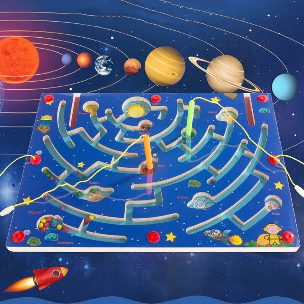 ZHLFDC Creativa personalidad Nueve Planet Laberinto Niño Niña Reconocimiento juguete educativo del color Planet interacción entre padres e hijos juguete pluma de bola de la manera de Inteligencia desa