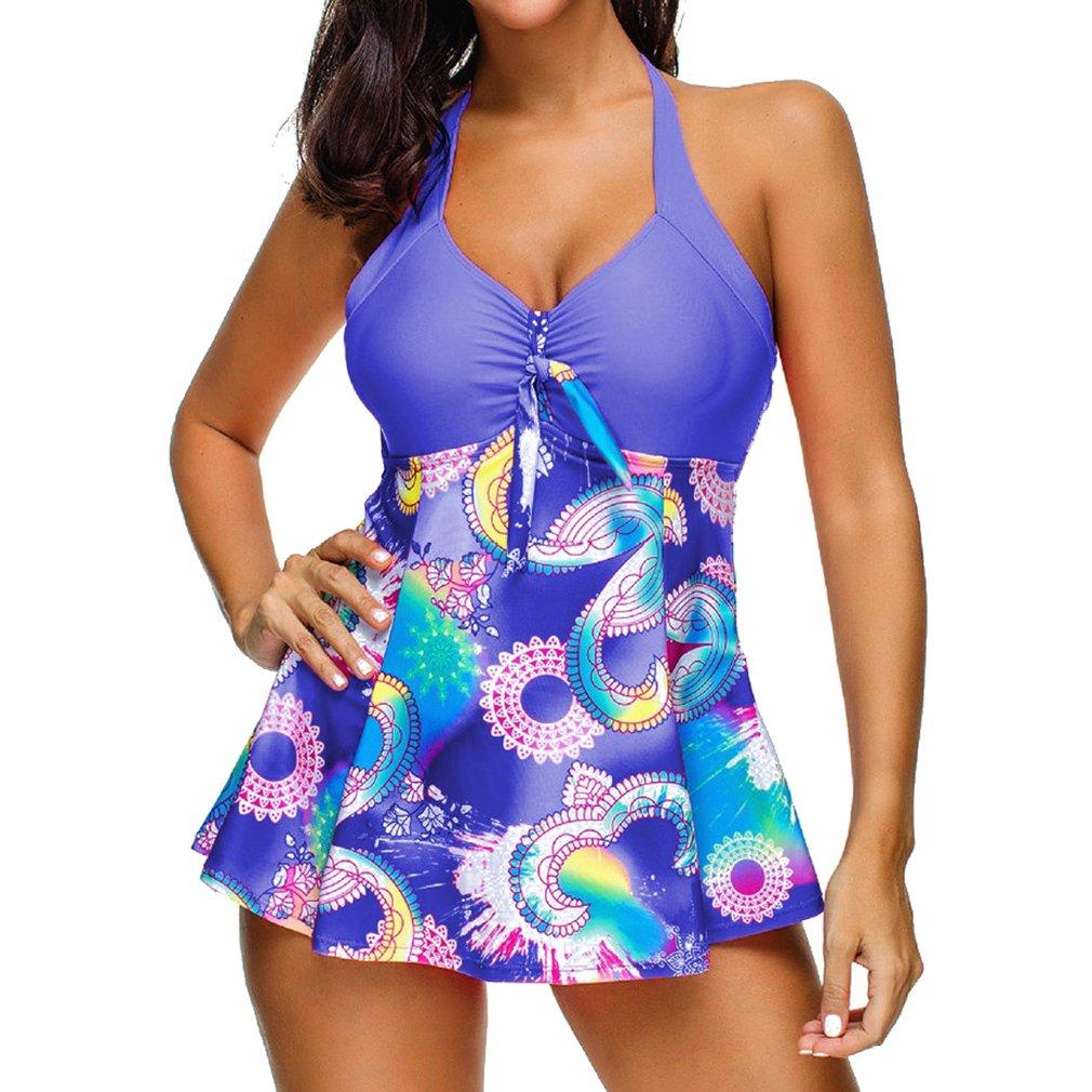 Junkai Donna Moda Stampa Costumi Da Bagno Set con Boyshort Swimwear Beachwear Costume da bagno multicolore con gonna Prospettiva due pezzi Tankini Bikini Set S - 5XL T180524B3D-ka