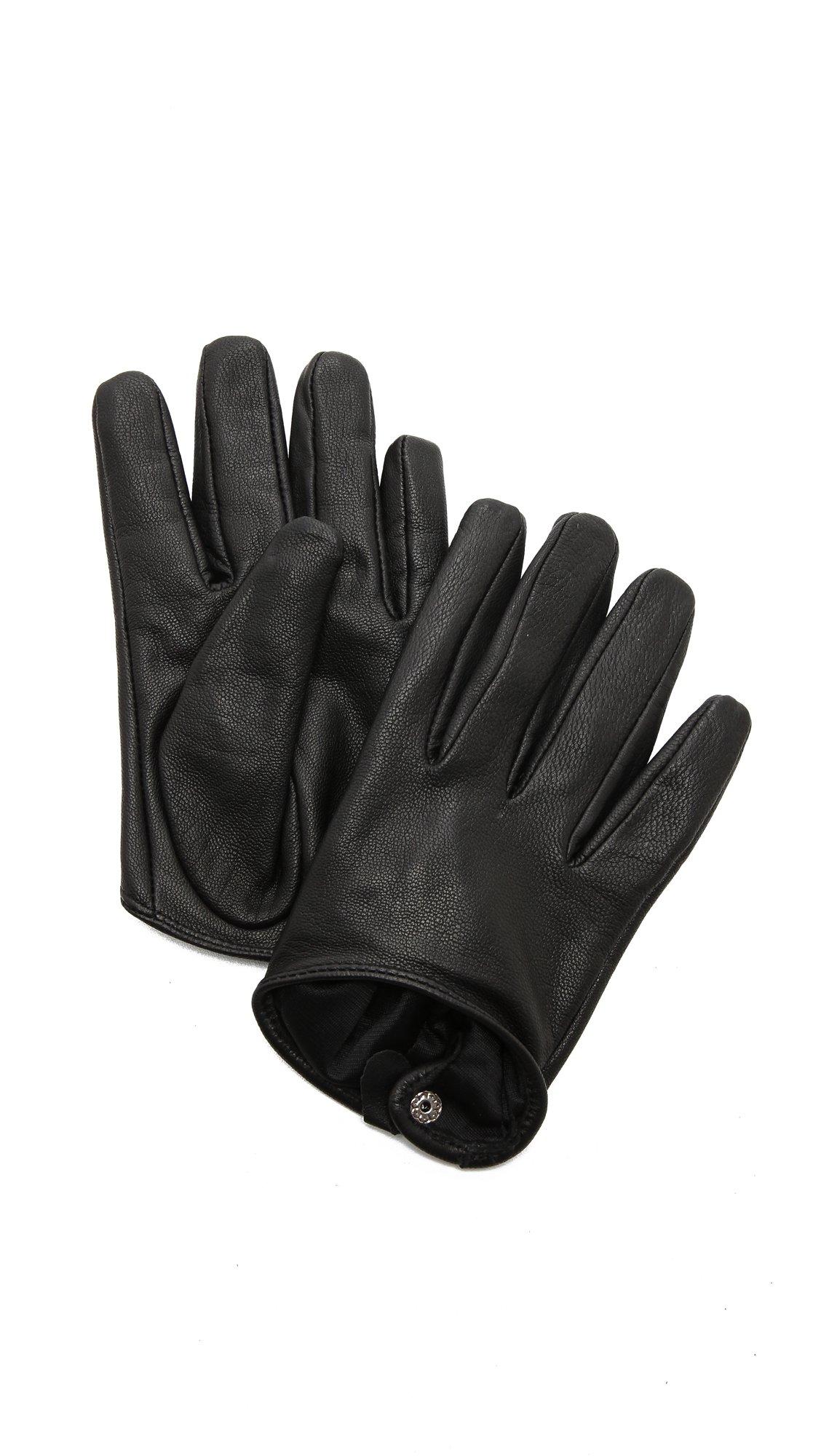 Carolina Amato Women's Short Leather Gloves, Black, Medium