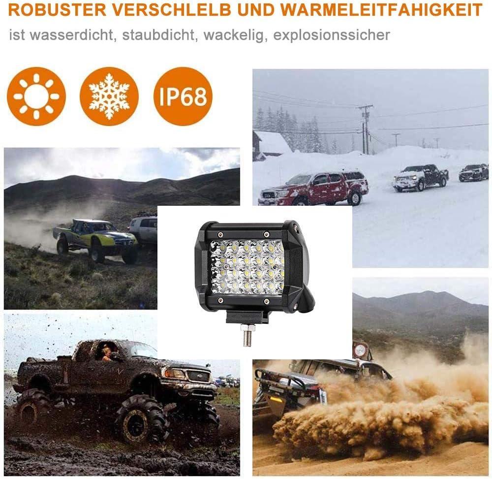 Truck Offroad Auto LED Arbeitsscheinwerfer Boot 2 St/ück 144W LED Zusatzscheinwerfer 4 Zoll Offroad Scheinwerfer 10800LM 10-80V 6500K IP67 Wasserdicht LED Spotlight f/ür SUV ATV