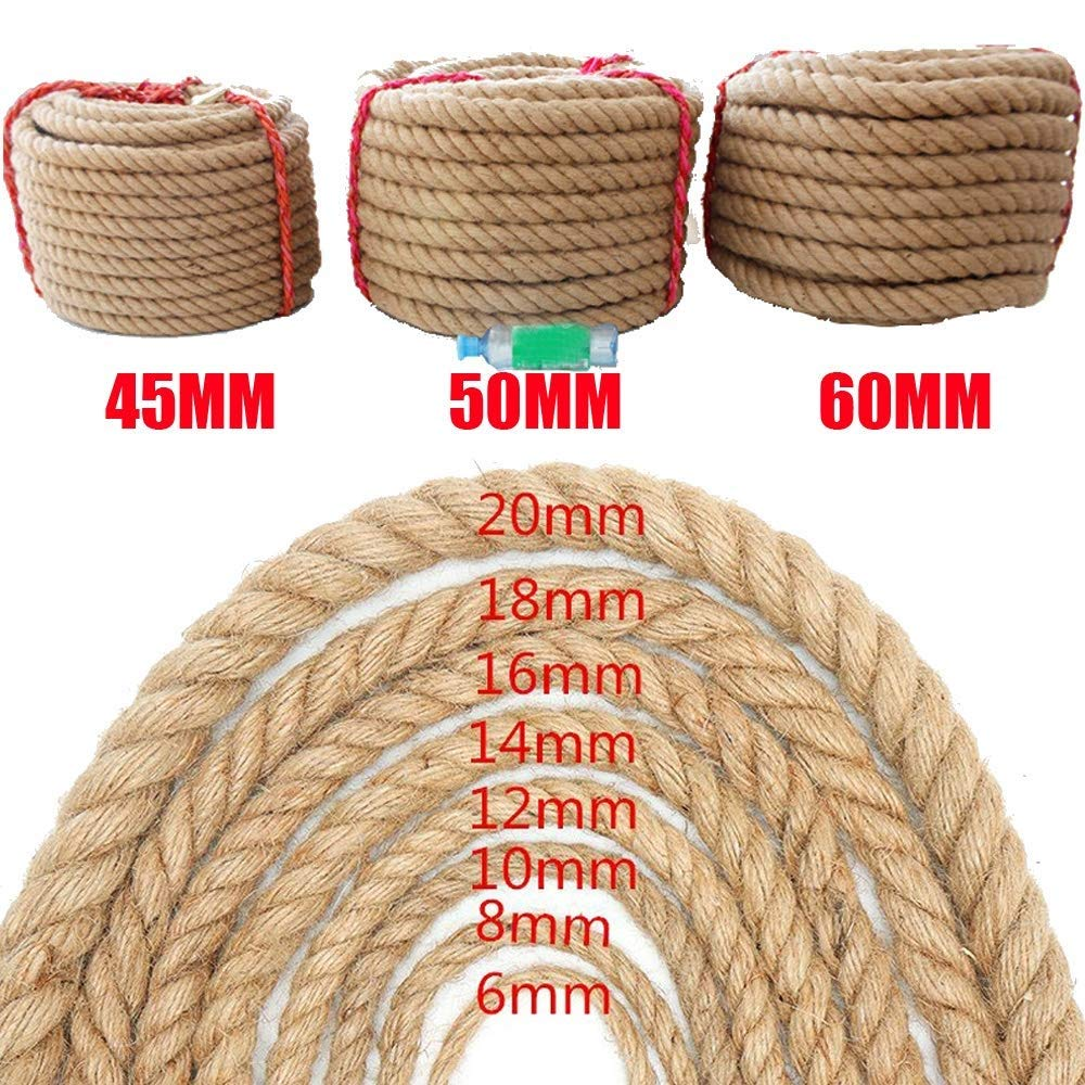 WCS Safety Natural 10M Jute Hemp Rope Thick Garden Rope String Art Craft Twine for Gift Packing Garden Bundling Decoration (Size : 30MM/10M)