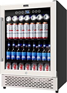 COLZER 24 Inch Beverage Refrigerator, 180 Cans of High-Capacity, Freestanding Built-in Counter Drinks Cooler Cooling Compressor for Soda, Water, Beer and Wine, Drink Fridge for Home/Bar/Office