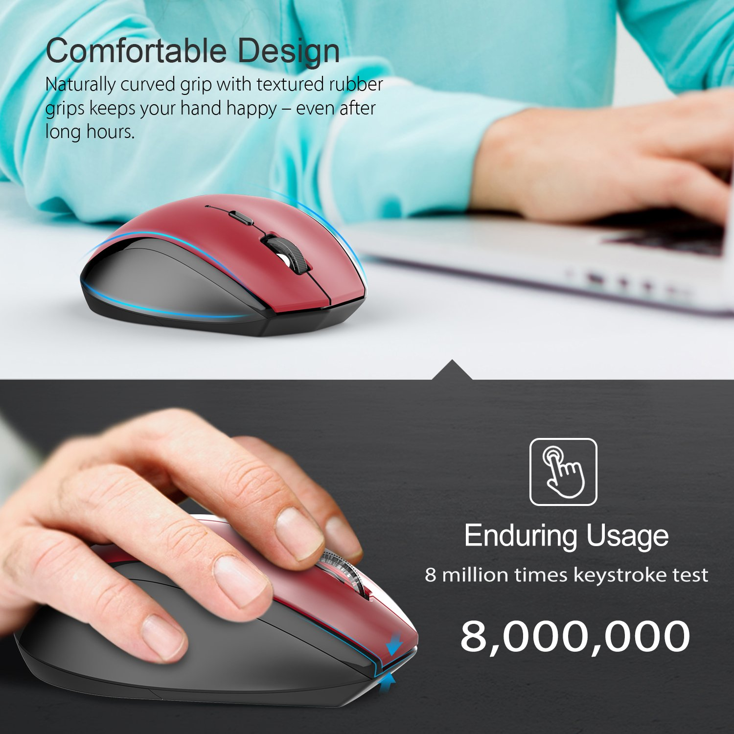 a662390163c Amazon.in: Buy Tecknet M002 Nano Cordless Optical Mouse (Red) Online at Low  Prices in India | Tecknet Reviews & Ratings