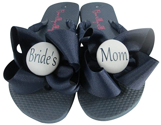 d5bf7fab2785 Amazon.com  Bride s Mom Groom s Flip Flops Bows for the Wedding ...