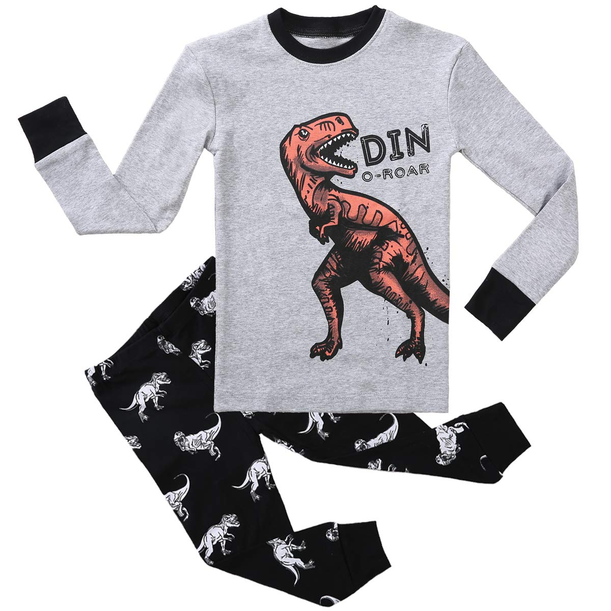 Boy Pajamas Set Long Sleeves Snug-Fit 2 Piece Kid PJS Sets 100% Cotton Toddler Sleepwear (Cute Dinosaur, 4T)