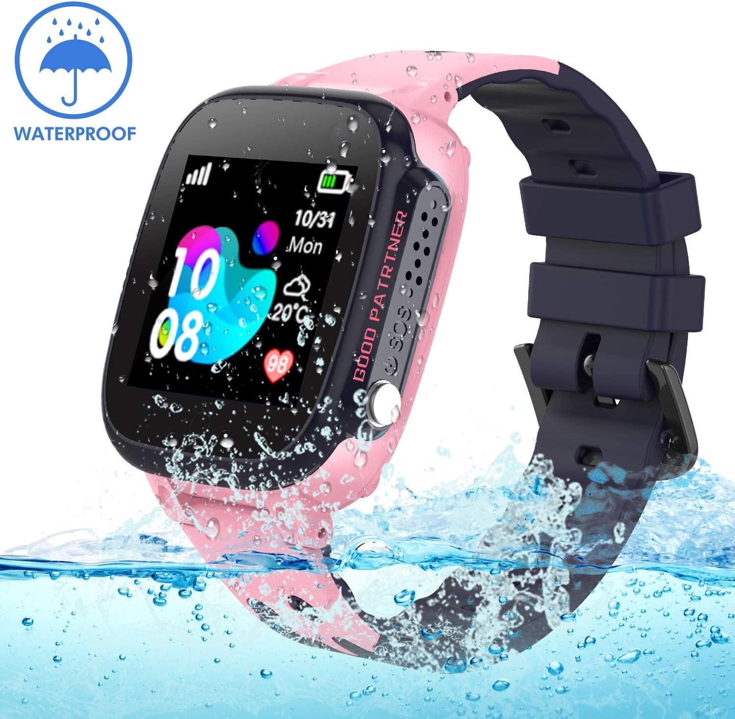 Kids Smartwatch Waterproof with GPS Tracker, Smart Watch Phone Compatible Ios Android for Children 3-12 Girls Boys SOS Call Remote Camera Two way call ...