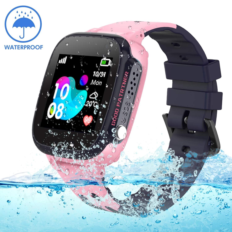 Jslai Niños Smartwatch Relojes Telefono, Impermeable LBS Tracker de Alarma SOS Infantil Relojes de Pulsera Cámara Reloj móvil Mejor Regalo para Niño ...