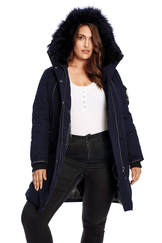 Alpine North Womens Plus-Size Womens Vegan Down Long Parka Winter Jacket Plus