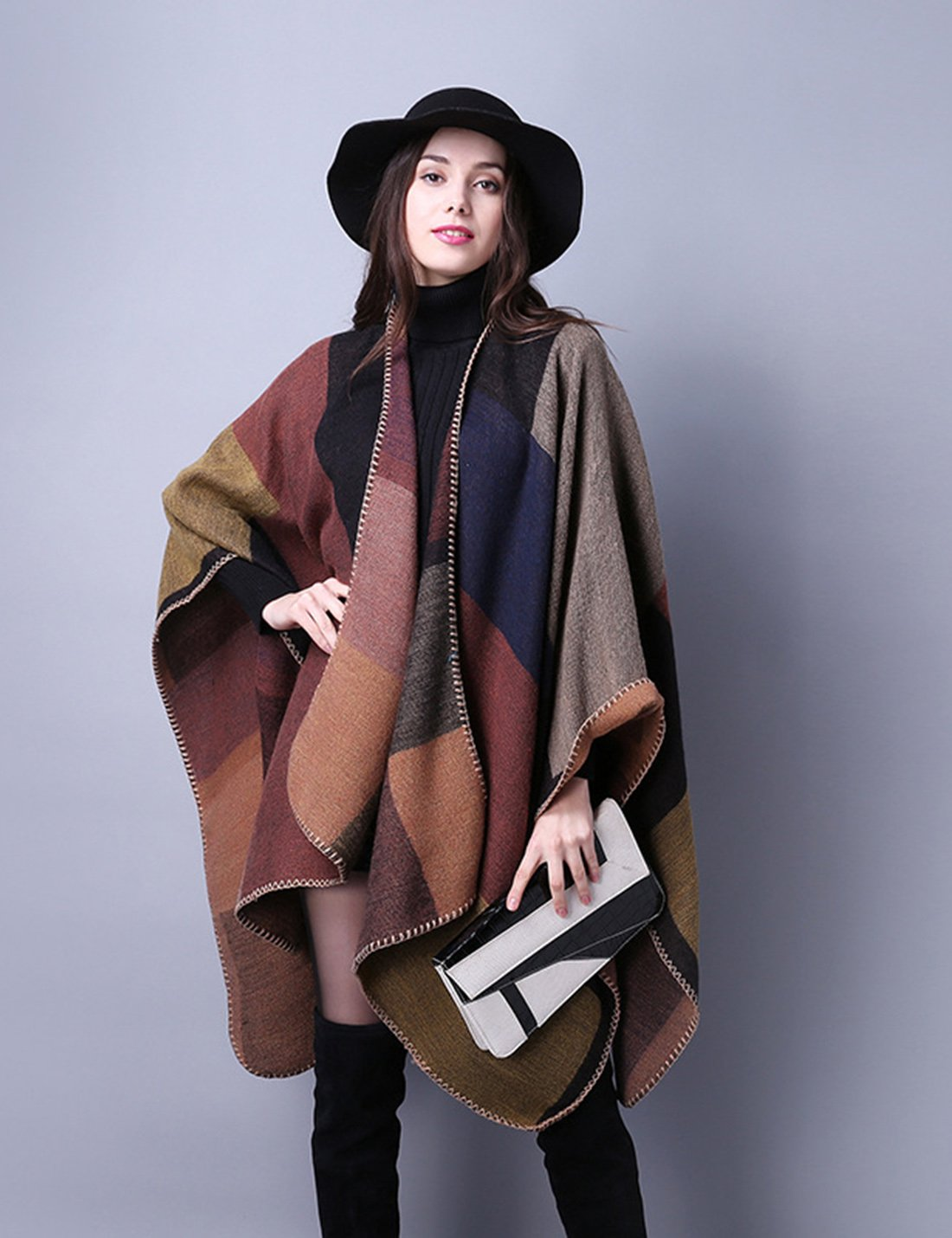 Gihuo Women's Color Block Plaid Open Front Shawl Poncho Cape Wrap Cardigan (Khaki) by Gihuo (Image #3)