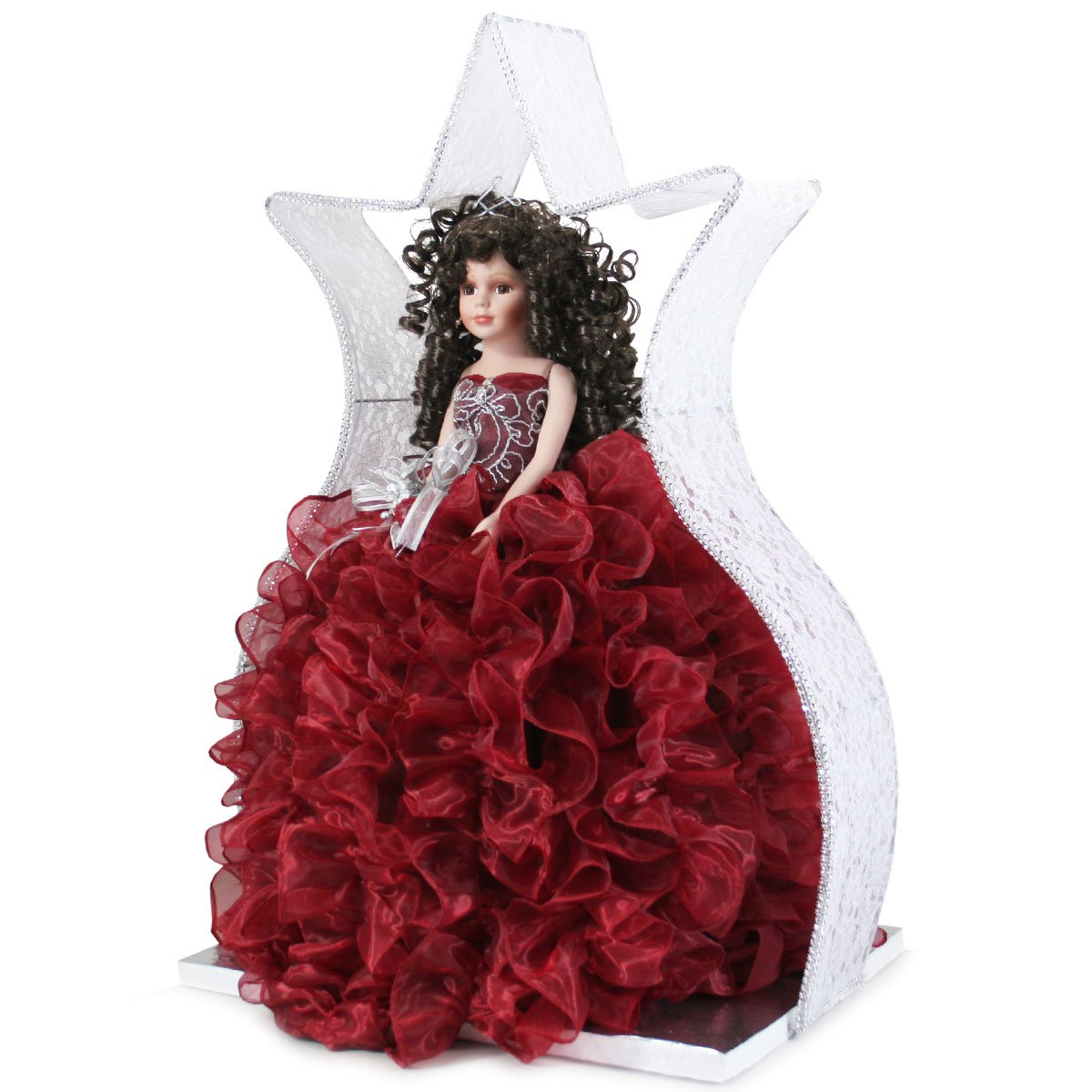 Quinceanera Ruffle Doll Girls Birthday Party Favor Q2063 (Add arch to doll)