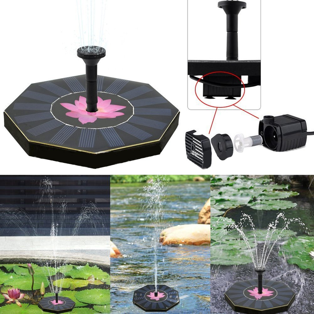 zqasales Solar Fountain Pump with Battery Backup, 1.5W Upgraded Submersible Solar Water Fountain Panel Kit for Bird Bath,Small Pond,Garden and Lawn (Fountain Pump)