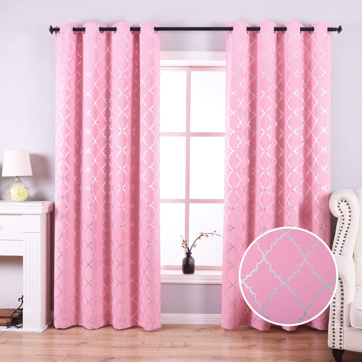 Amazon Com Anjee Pink Blackout Curtains For Girls Room With Moroccan Pattern Blackout Drapes Grommet Top Window For Noise Reducing 52 X 84 Inches Pink Kitchen Dining