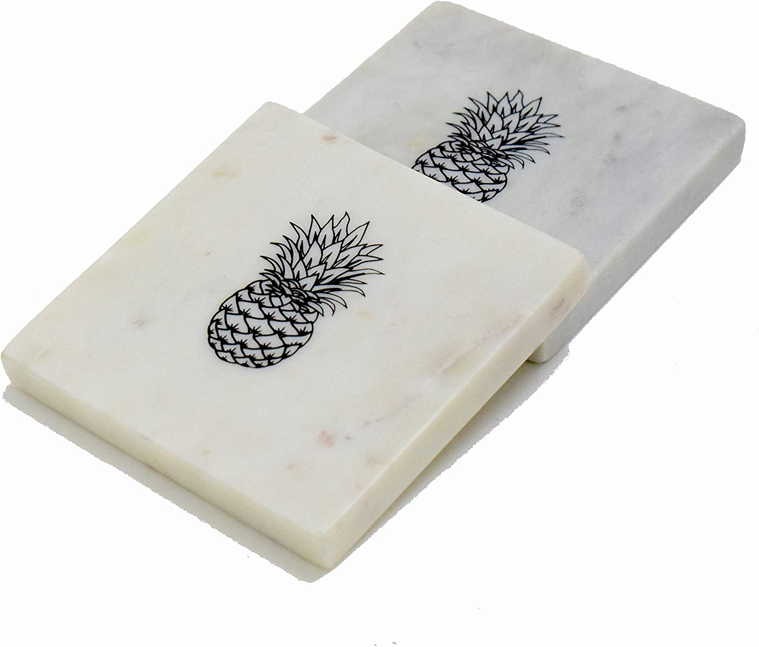 Hashcar Decorative Marble Coasters for Drinks (Set of 2) - Coaster Set for Dining Table | Centre Table- Kitchen Décor