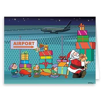 aviation christmas card 18 cards envelopes santa brings packages to airport - Aviation Christmas Cards