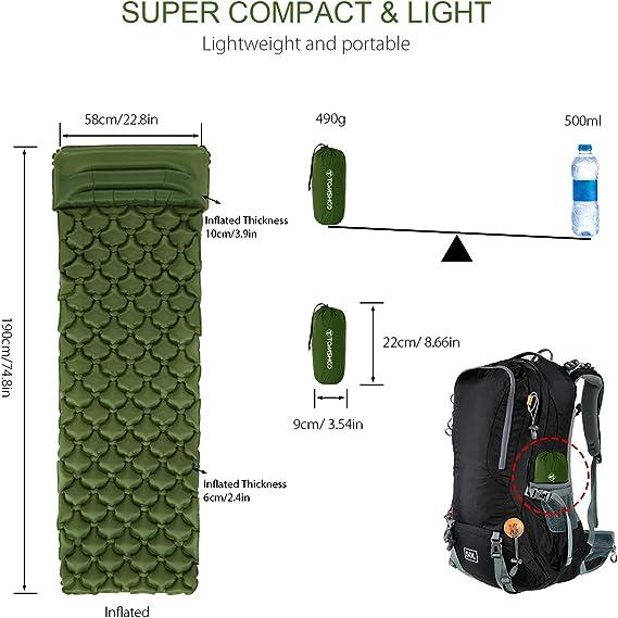 Explopur Colchoneta Inflable Ultraligera para Dormir con Almohada para Acampar al Aire Libre Senderismo Mochilero Viajes