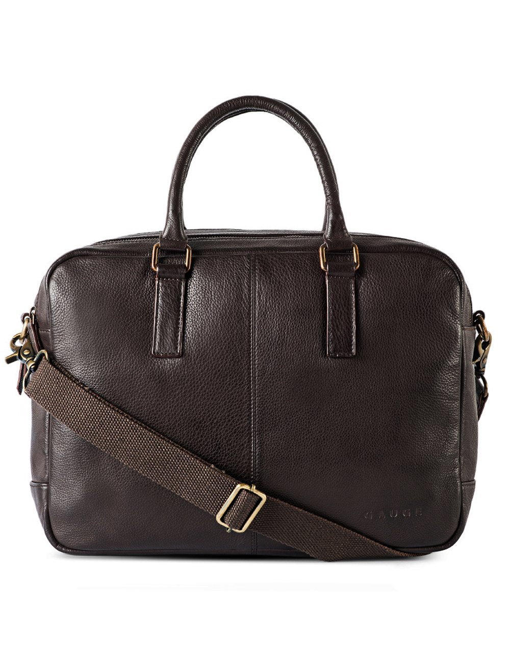 Gauge 15.5 inch Leather Laptop Bag Messenger Bag Office Briefcase College Bag for Men (Brown)