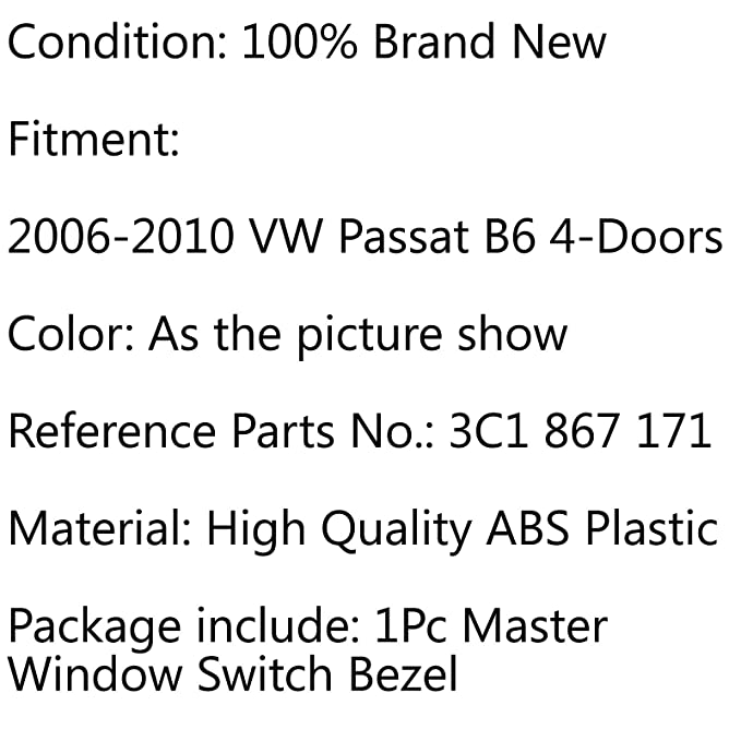 Areyourshop Master Panel de control de interruptor de ventana para Passat B6 2006-2010 4 puertas