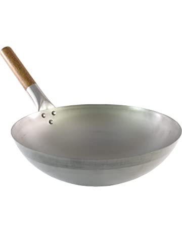 Wok tradicional de acero al carbono - Calidad profesional - Fondo redondo - Mango de madera