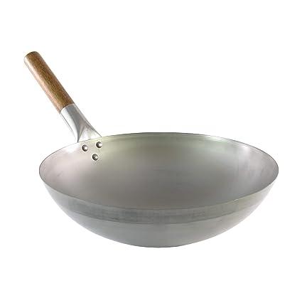 Wok tradicional de acero al carbono - Calidad profesional - Fondo redondo - Mango de madera - Ø 30 cm
