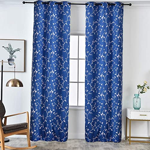 NAPEARL Curtain Panel Bird Tree Jacquard Window Treatment American Country Style Navy Blue, 52 Wx96 L