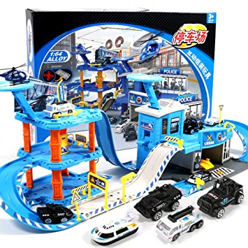 Estacionamiento de la policía, juego de juguetes para niños, juguete de Railcar Boy,
