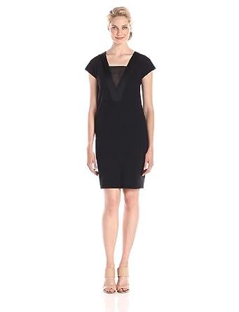 Anne Klein Womens Cap Sleeve Shift Dress Black 10 At Amazon