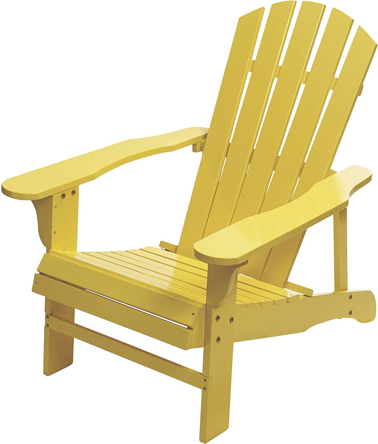 Classic Painted Acacia Wood Adirondack Chair - Yellow: Kitchen & Dining