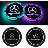 PUMERY (4PCS 2PCS LED Cup Holder Mat Luminescent Pad Coaster with USB Rechargeable Interior Decoration Light Atmosphere Lamp + 2PCS Silicone Slip Cup Mat Black for Mercedes-Benz Accessory