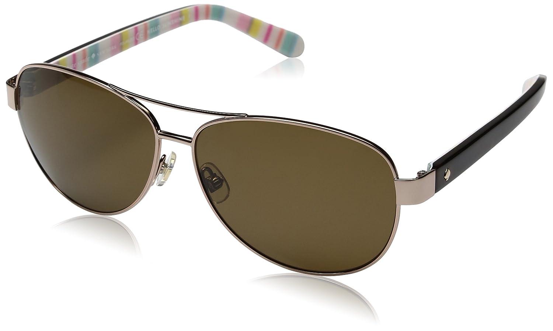 f8b7f52d6a30 Amazon.com: Kate Spade Women's Dalia2/P/S Polarized Aviator Sunglasses,  Light Gold/Brown, 58 mm: Clothing