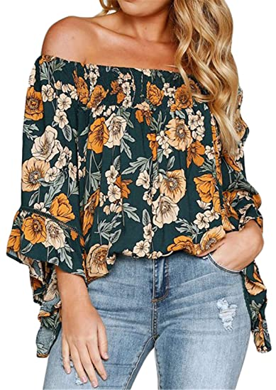 088dee9d 3/4 Sleeve Bell Sleeve Ruffle Hem Off The Shoulder Floral Blouse Shirt  Swing Trapeze Top Green at Amazon Women's Clothing store: