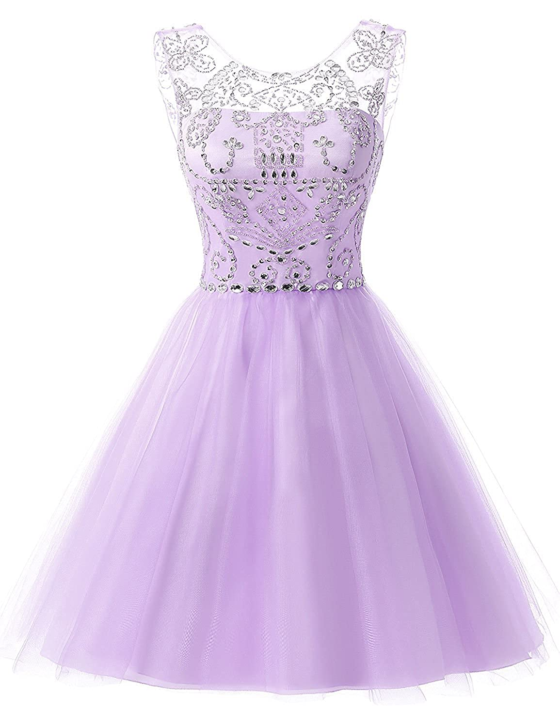 133purplec Sarahbridal Women's Short Tulle Beading Homecoming Dresses 2019 Prom Party Gowns