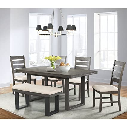 Picket House Furnishings Sullivan Dining Set  Table, 4 Side Chairs U0026 Bench  Transitional/