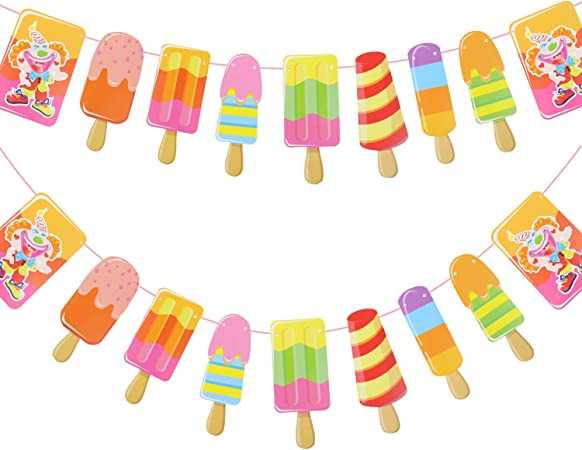 Amazon Com Paper Popsicle Banner Diy Paper Garland For Kids Birthday Party Baby Showers Summer Party Decoration 2 Pack Arts Crafts Sewing