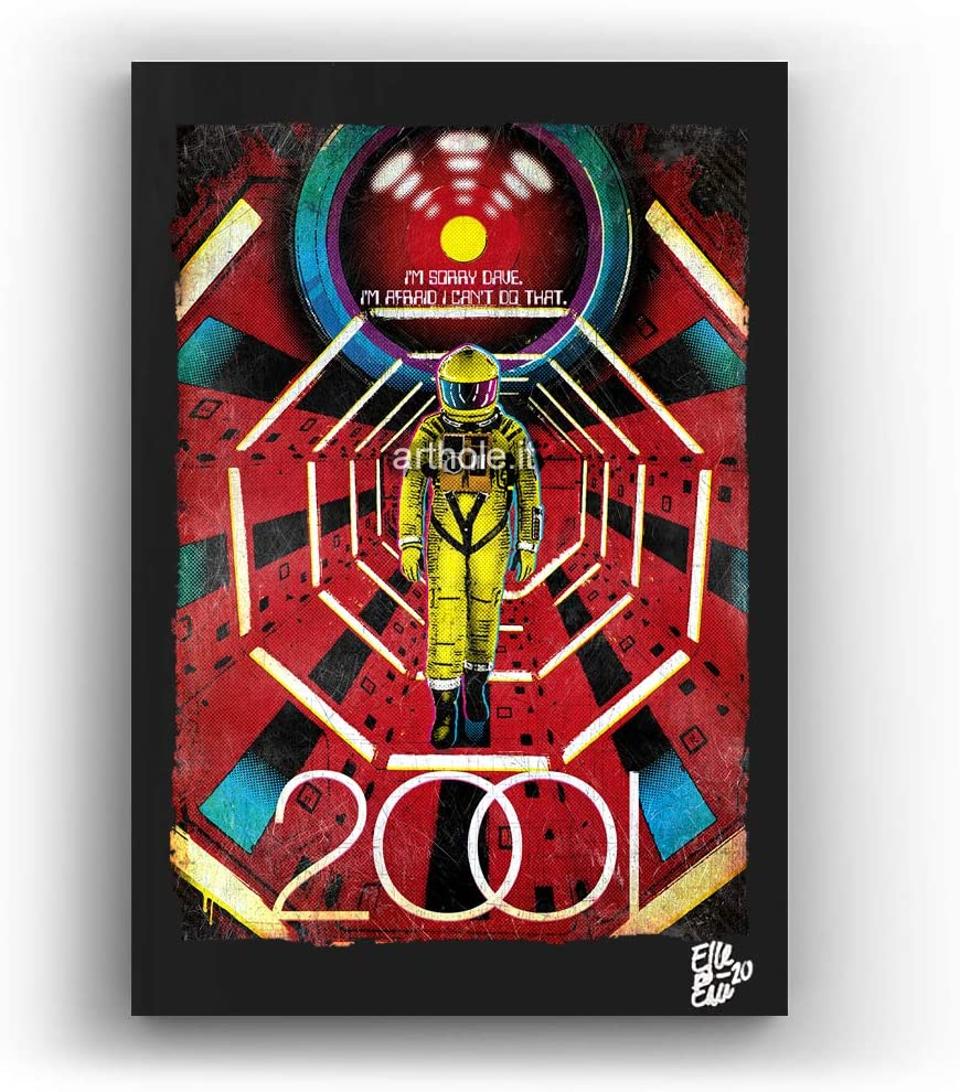 Stanley Kubrick's 2001 A Space Odyssey - Pop-Art Original Framed Fine Art Painting, Image on Canvas, Artwork, Movie Poster, Sci-Fi