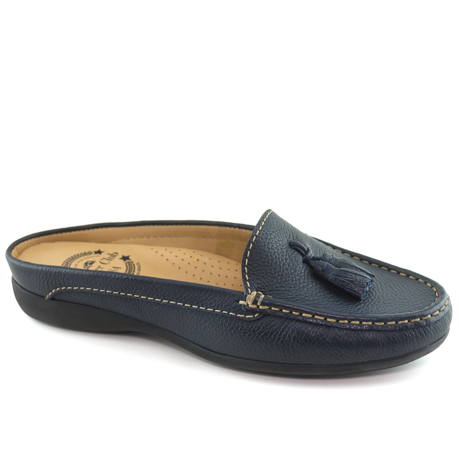 Driver Club USA Women's Austin Mule Navy Grainy Slip On 9.5