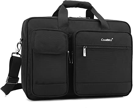 CoolBELL 17.3 Inches Laptop Messenger Bag Protective Shoulder Bag Canvas Business Briefcase Multi-Functional Computer Case for Men//Women//College//Office Canvas Black
