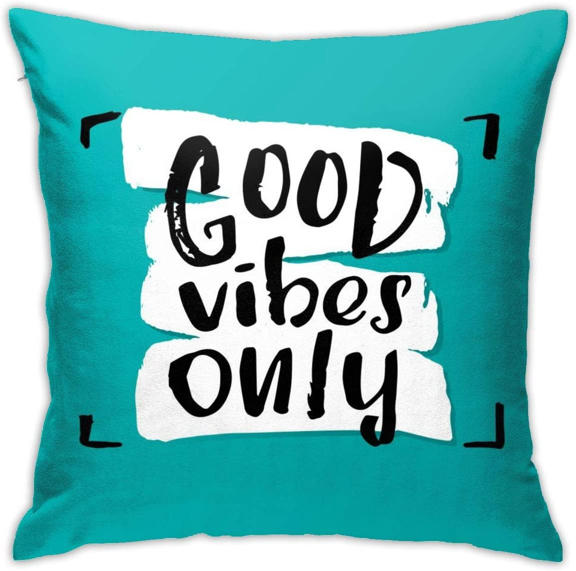 Yaateeh Motivational Quotes Good Vibes Only Teal Turquoise Throw Pillow Covers Decorative 18x18 Inch Pillowcase Square Cushion Cases for Home Sofa Bedroom Livingroom