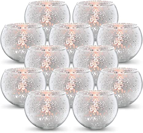 Volens Round Silver Votive Candle Holders Mercury Glass Tealight Candle Holder Set Of 12 Kitchen Dining